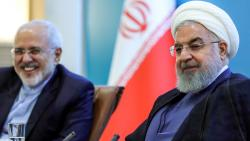 A handout picture provided by the Iranian presidency on Sunday shows President Hassan Rouhani (R) attending a meeting with Foreign Minister Mohammad Javad Zarif and other ministry officials at the capital Tehran.