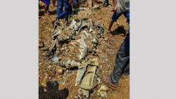 Debris after an MiG-21 fighter jet crash, killing an Indian Air Force pilot, in Kangra on Wednesday.