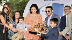 Glittering PRA Independence Day Cup trophy being presented to Cyrus Adar Poonawalla. Also seen are Natasha Poonawalla, Mrs Kayani, Shahnaaz Bharucha, Director of PRA Group, and Adar Poonawalla, at the Race Course on Tuesday.