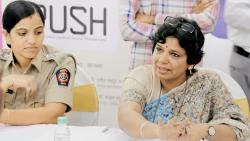 Maharashtra State Women's Commission President Vijaya Rahatkar (R) at Alpa Bachat Bhawan, on Tuesday.