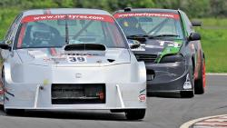 Arjun Balu (No.39) on his way to winning the Indian Touring Cars class race at MMRT in Chennai on Saturday