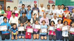 All the winners of the Sharada District Ranking Table Tennis Tournament pose for a picture