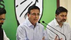 AICC spokesperson Randeep Singh Surjewala addresses a press conference in New Delhi on Thursday. PTI Photo