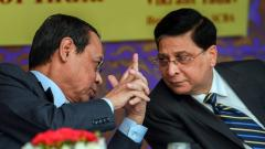 Chief Justice of India Justice Dipak Misra with CJI-designate Justice Ranjan Gogoi during the launch of SCBA Group Life Insurance policy, at the Supreme court lawns, in New Delhi last Tuesday.