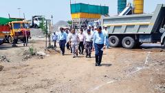 AAI Regional Director of Western Region G Chanderamouli with Pune Airport Director Ajay Kumar at the construction site of the new terminal building