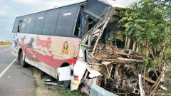 Two killed, 11 injured as a  Shivshahi bus rams into truck