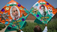 A kitemaker displays customised kites made ahead of the Lok Sabha elections results 2019, in Amritsar on May 22, 2019. PTI Photo