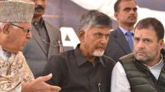 Naidu's daylong fast becomes centre-stage for show of opposition unity