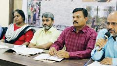 Sad State: Officials from several NGOs in the State present a report on the drought situation in Maharashtra, on Monday.