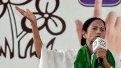 West Bengal Chief Minister and TMC supremo Mamata Banerjee campaigns for her party's candidate from Bishnupur constituency seat, Shyamal Santra, during an election rally for the upcoming Lok Sabha polls, in Bankura district on May 6, 2019.