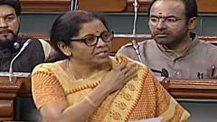 Finance Minister Nirmala Sitharaman speaks at Lok Sabha, in New Delhi on Thursday.