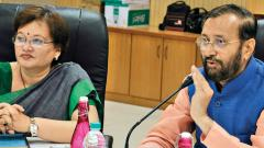 Mayor Mukta Tilak (L) and Union Minister for Environment, Forests and Climate Change and Information & Broadcasting Prakash Javadekar during a review meeting of the Mula-Mutha Cleaning Project.