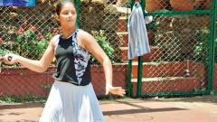 gAME ON: Millee Chug in action against Mohini Ghule at the Ravine Hotel tennis courts on Saturday.