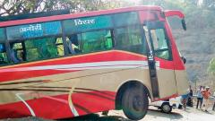 Close shave for passengers as bus almost falls in gorge