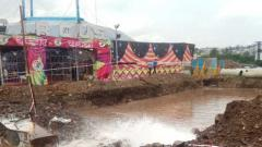 Road work damages water pipeline