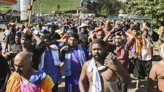 Sabarimala temple opens Monday, pilgrims protest at Erumeli