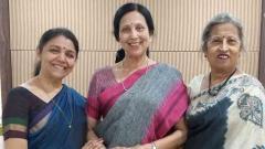(L-R) Dr. Sucheta Bhide Chapekar, Maneesha Sathe & Shama Bhate  at today's Press Conference held at Patrakar Sangh