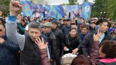 Opposition supporters rally during Kazakhstan's presidential elections in Nur-Sultan on June 9, 2019. AFP Photo