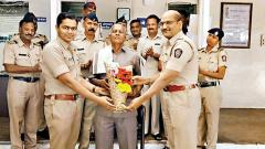 Constable SK Kamble felicitated by city cops
