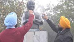 Former PM Rajiv Gandhi's statue vandalised in Ludhiana