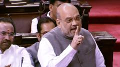 Union Home Minister Amit Shah addressing the Lok Sabha during the resolution to revoke Article 370 in the Parliament on Tuesday.