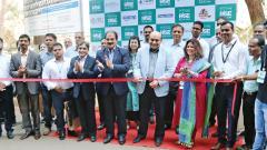 Chief Guest Sudhanshu Pandit (C), HR Head, Symantec, cuts the ribbon for APG Learning's RISE - Mega Job Fair 2019. (L) Dr SS Vernekar, Principal, Bharati Vidyapeeth's IMED & Ankit Maheshwari, Business Head, APG Learning.