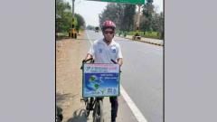 Man pedals for 300 km to spread awareness on water conservation