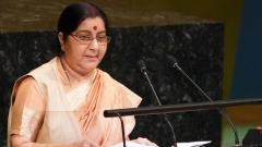 India's Foreign Minister Sushma Swaraj addresses the 73rd United Nations General Assembly on Saturday.
