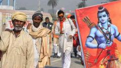 "Devotees chanting ""Jai Shree Ram"" arrive in Ayodhya for 'dharam sabha"