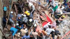 4-storey building collapses in Mumbai, 40-50 people feared trapped